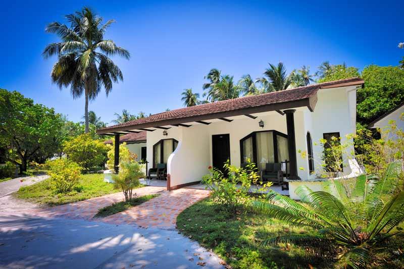 hus omgivet af palmer på maldiverne