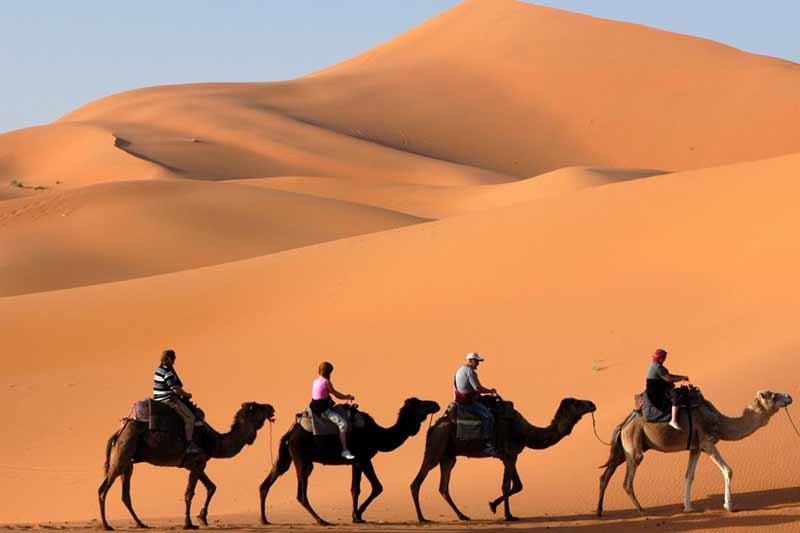 fire personer rider på kameler igennem ørkenen i Oman